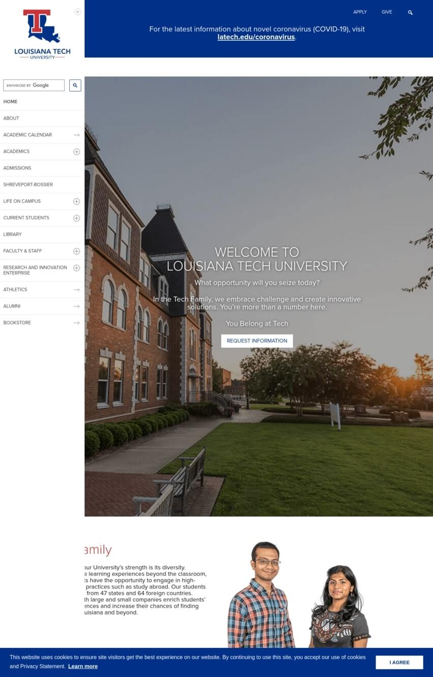 exemple-site-divi-universite-louisiane-tech