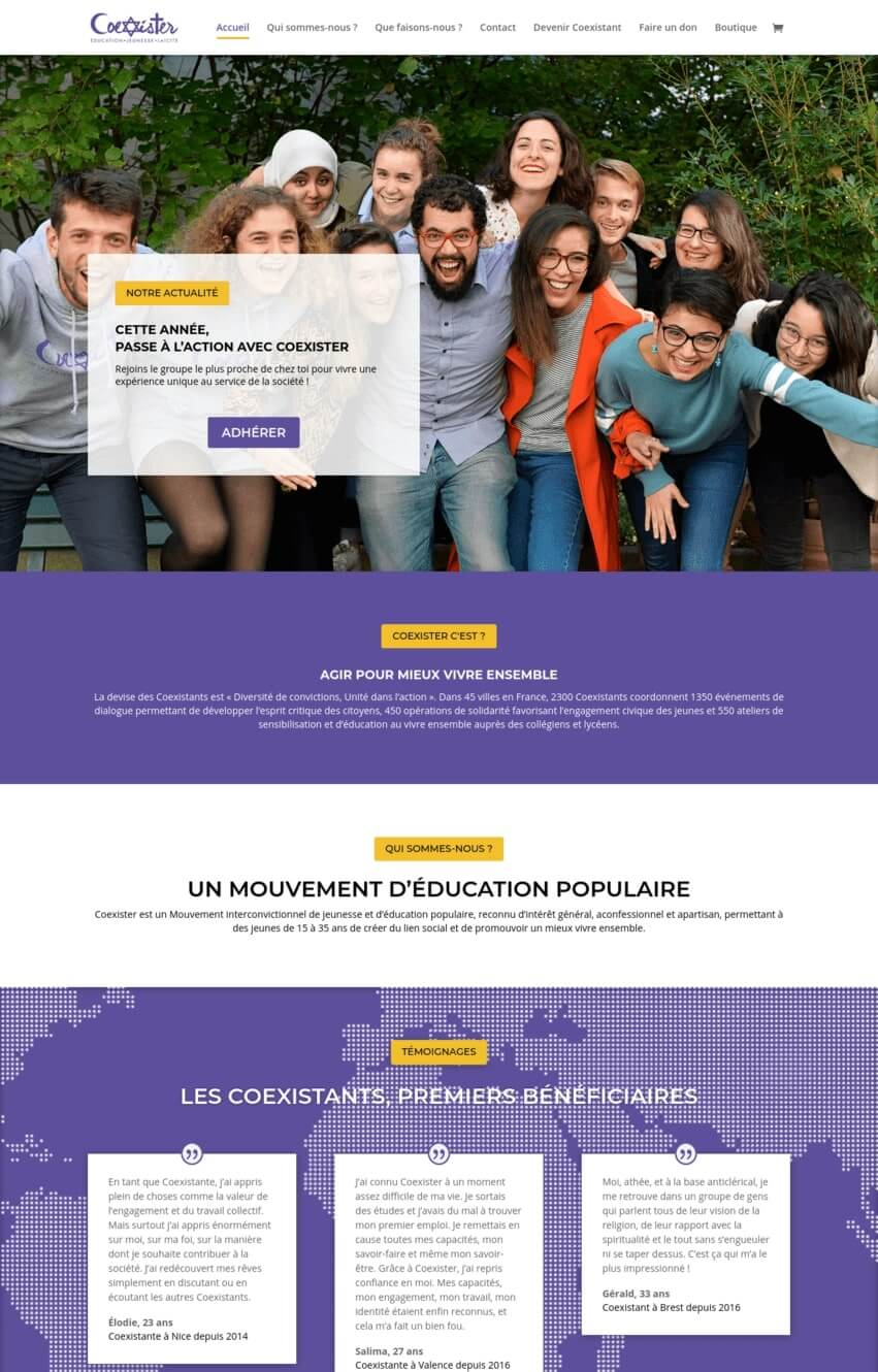 coexister-association-exemple-site-divi