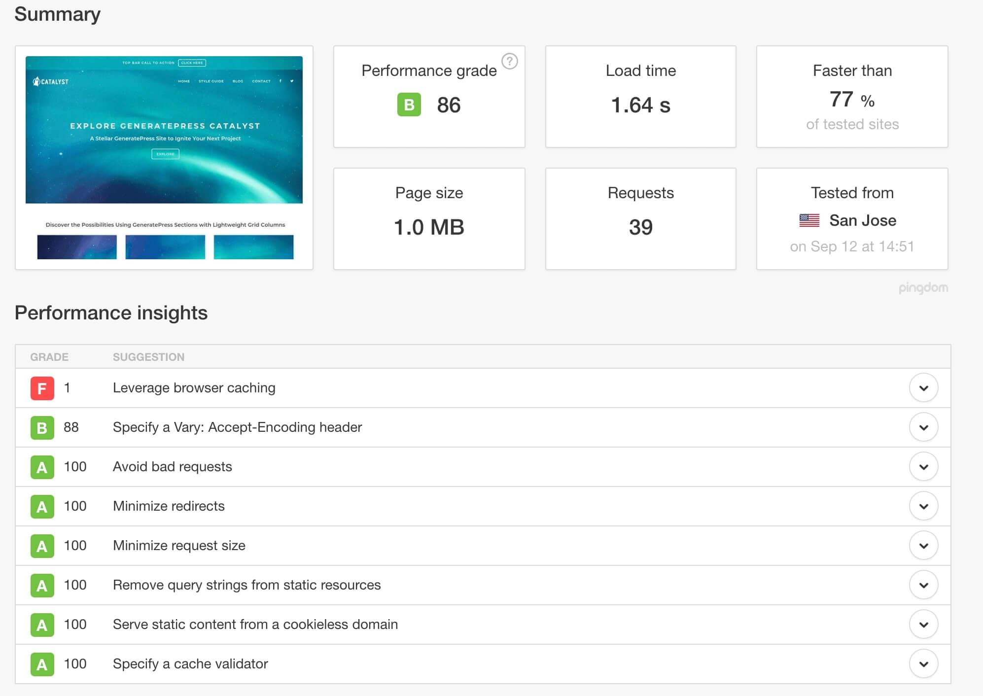 generatepress-demo-pingdom